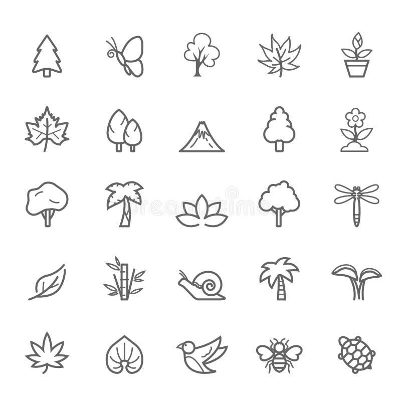Uppsättning av den naturliga symbolen för översiktsslaglängd stock illustrationer