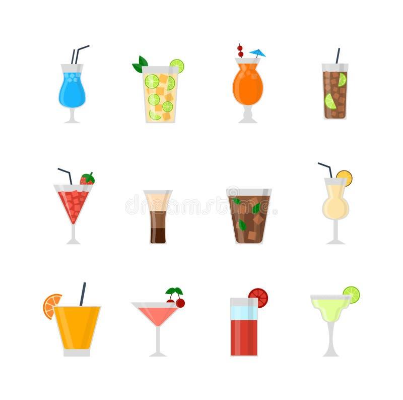 Uppsättning av den olika alkoholdrinkflaskan och exponeringsglasvektorillustrationen stock illustrationer