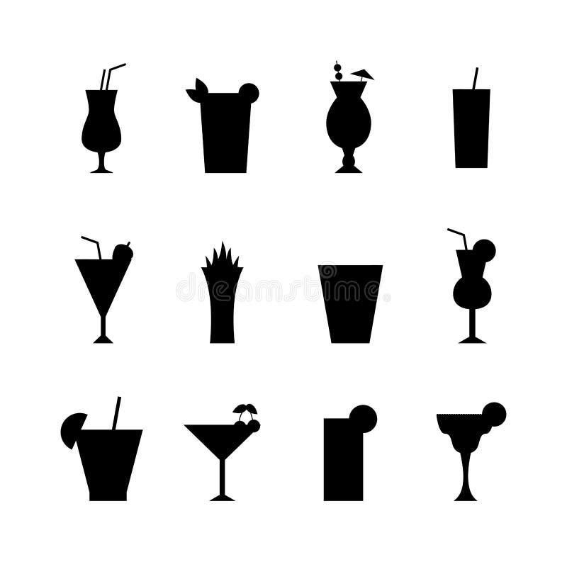 Uppsättning av den olika alkoholdrinkflaskan och exponeringsglasvektorillustrationen royaltyfri illustrationer