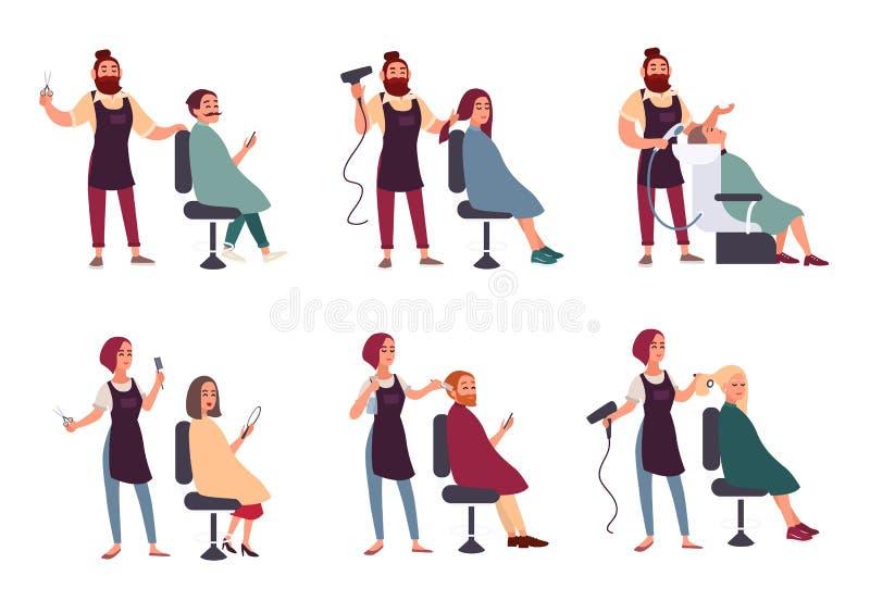 Uppsättning av den olika frisören Moderiktig man och kvinna i frisersalongen, friseringsalong Service: gör att utforma, torkar royaltyfri illustrationer