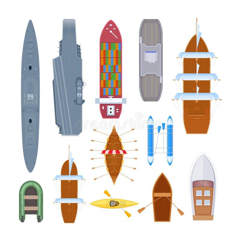 Uppsättning av den olika moderna krigsskeppet, fartyg, färja, marin- transport vektor illustrationer