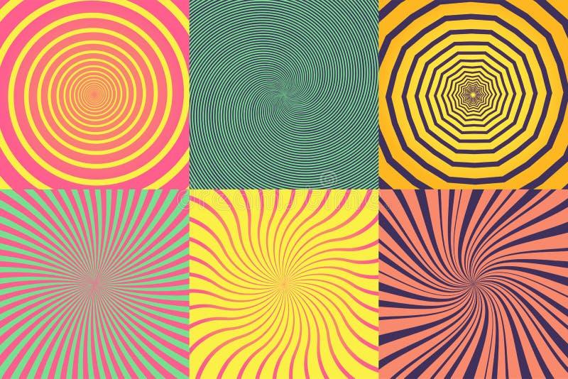 Uppsättning av den olika psykedeliska spiralen, virvel, piruett Färgrik bakgrundssamling för vektor stock illustrationer