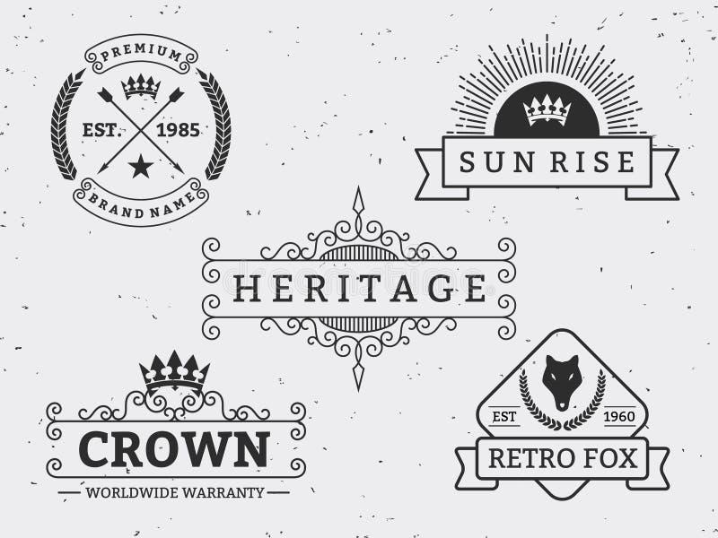 Uppsättning av den olika retro emblemdesignen vektor illustrationer