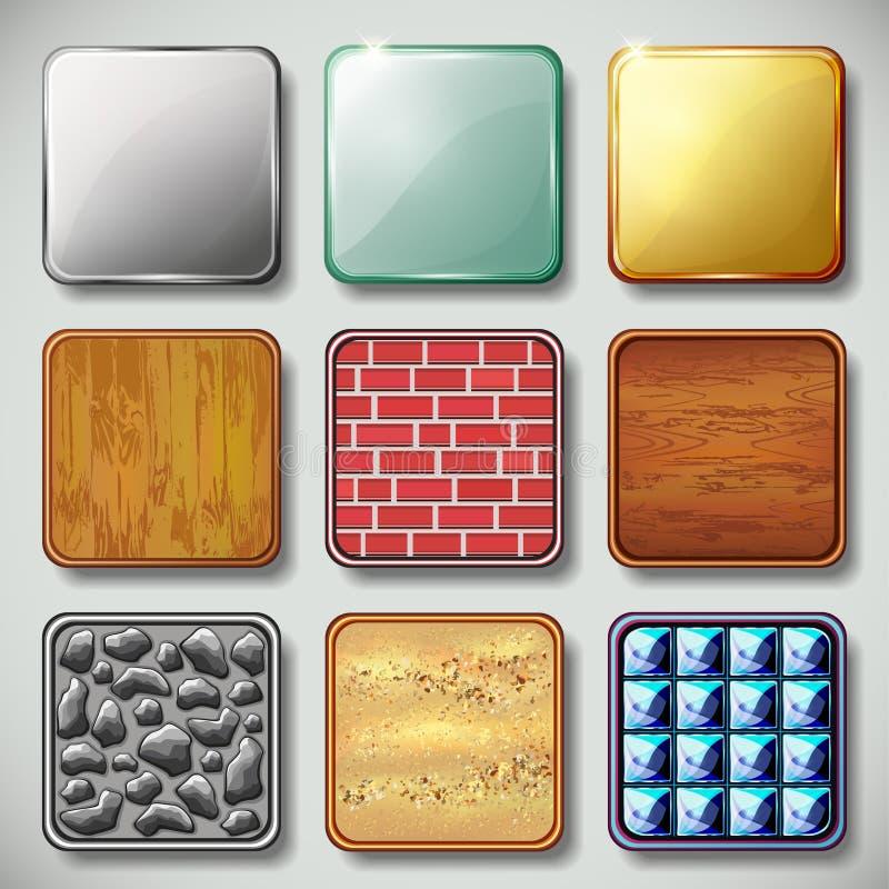 Uppsättning av den olika texturerade appssymbolsvektorn stock illustrationer