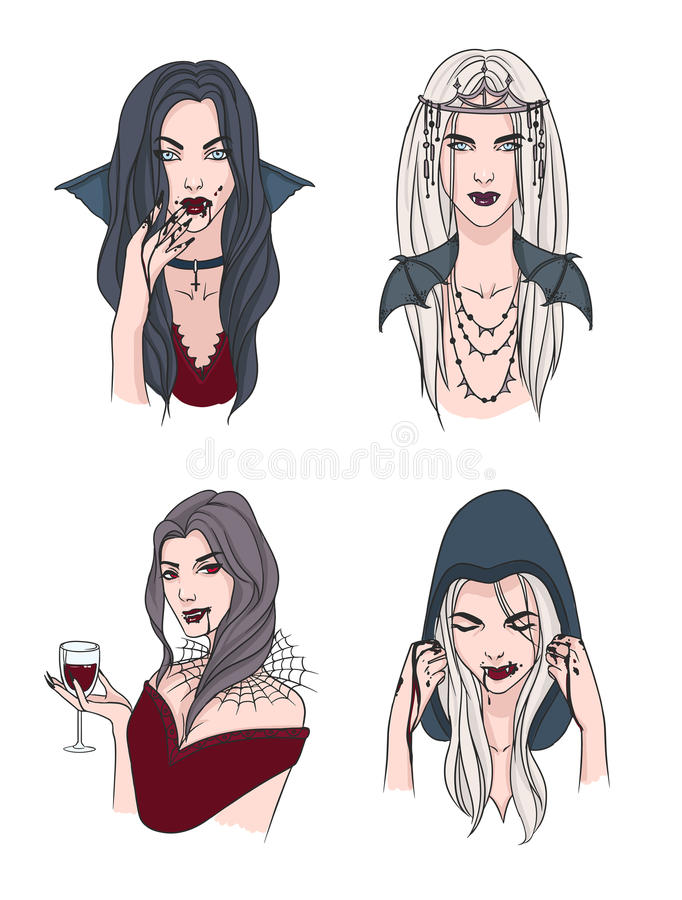 Uppsättning av den olika vampyrflickan Kvinna med huggtänder och blod Ståendehalloween för samling stilfullt tecken tecknad hand royaltyfri illustrationer