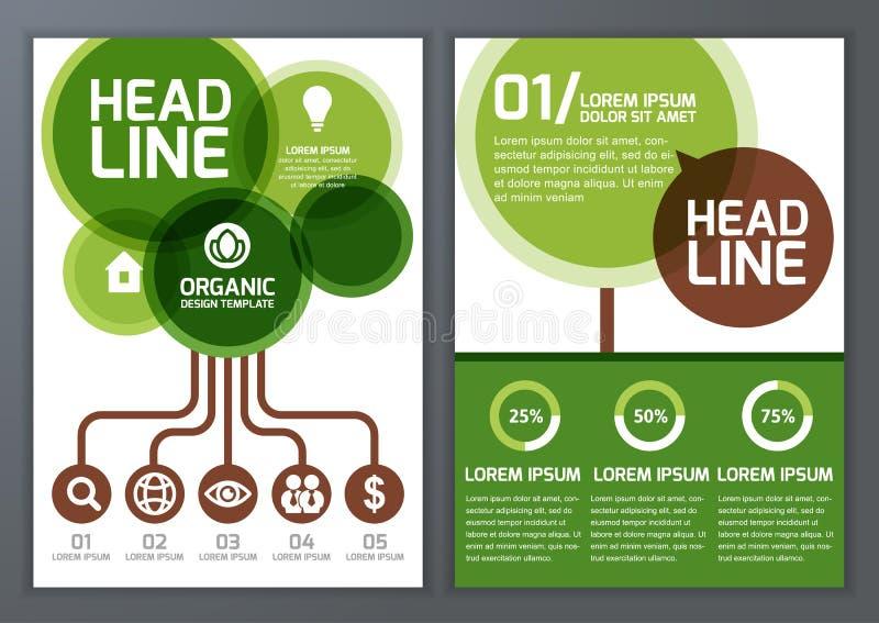 Uppsättning av den organiska mallen för vektornatur för broschyren, reklamblad, stolpe stock illustrationer