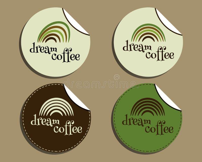 Uppsättning av den ovanliga märkesidentiteten - dröm- kaffe stock illustrationer
