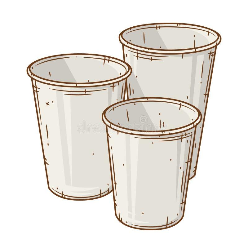 Uppsättning av den pappers- kaffekoppen över vit bakgrund Tecknad filmkaffekopp vektor illustrationer