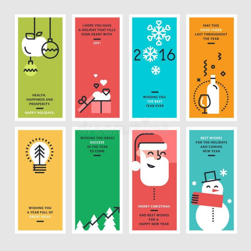 Uppsättning av den plana linjen designbegrepp för nytt år och jul stock illustrationer