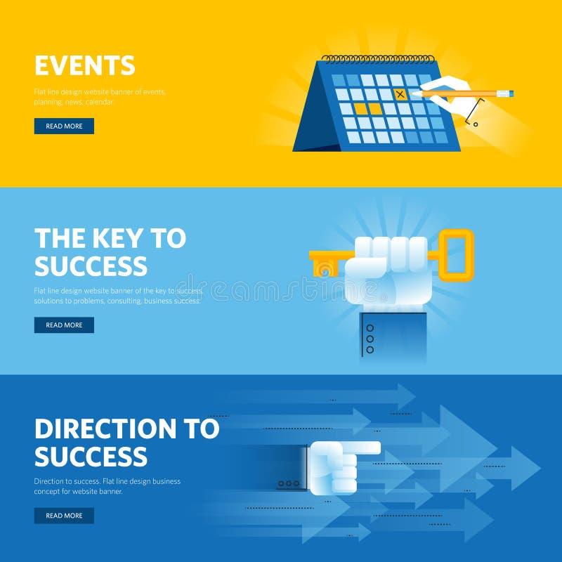 Uppsättning av den plana linjen designrengöringsdukbaner för affärsframgång, strategi, organisation, nyheterna och händelser royaltyfri illustrationer