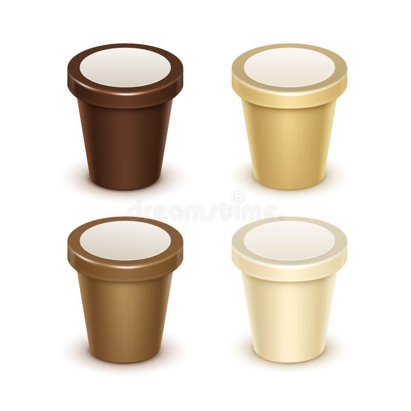 Uppsättning av den plast- hinken för mat för yoghurtglass stock illustrationer