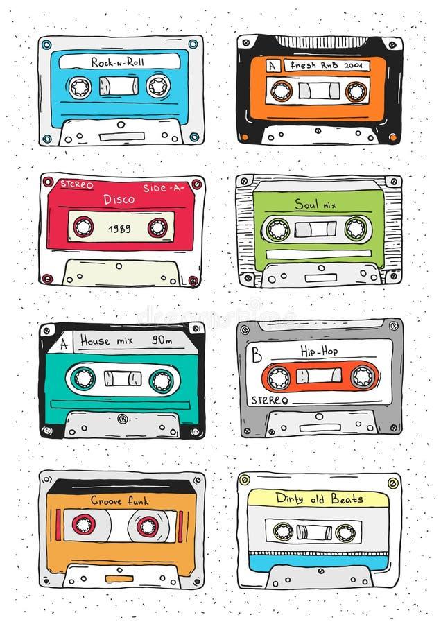 Uppsättning av den plast- kassetten, ljudband med olik musik retro tecknad jpeg för eps-handillustration stock illustrationer