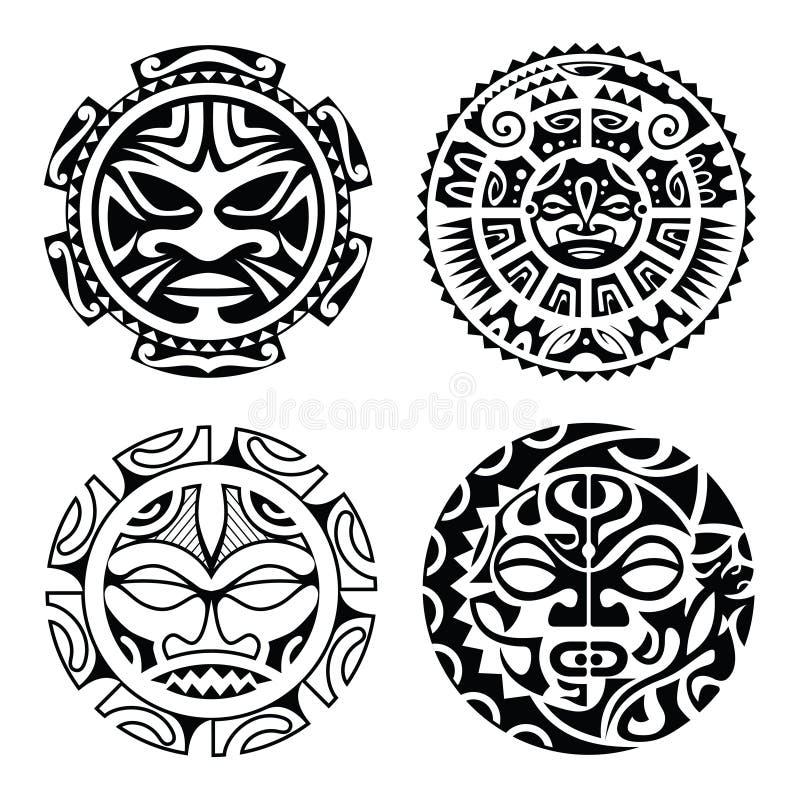 Uppsättning av den polynesian tatueringen royaltyfria foton