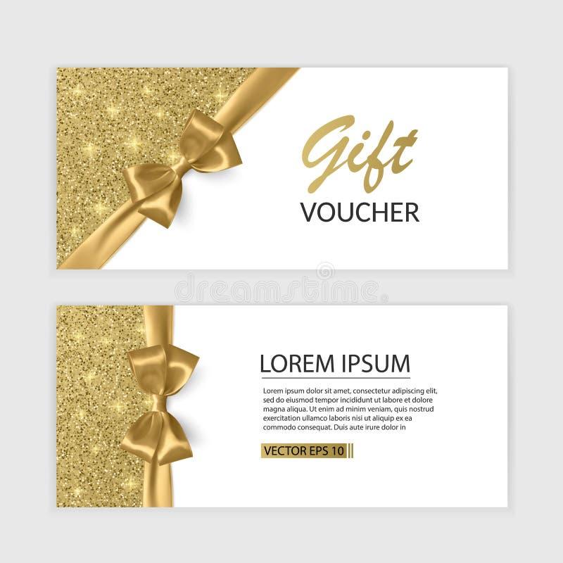 Uppsättning av den presentkortkortmallen, advertizingen eller Sale mallen med blänker textur och den realistiska pilbågeillustrat royaltyfri illustrationer