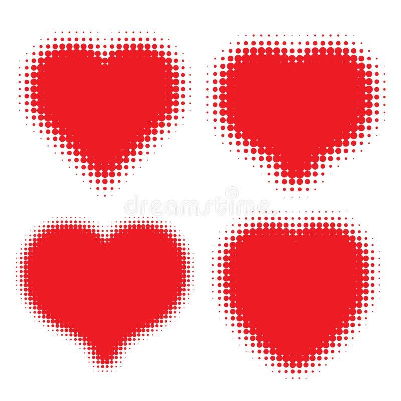 Uppsättning av den röda hjärtahalvtonlogoen stock illustrationer