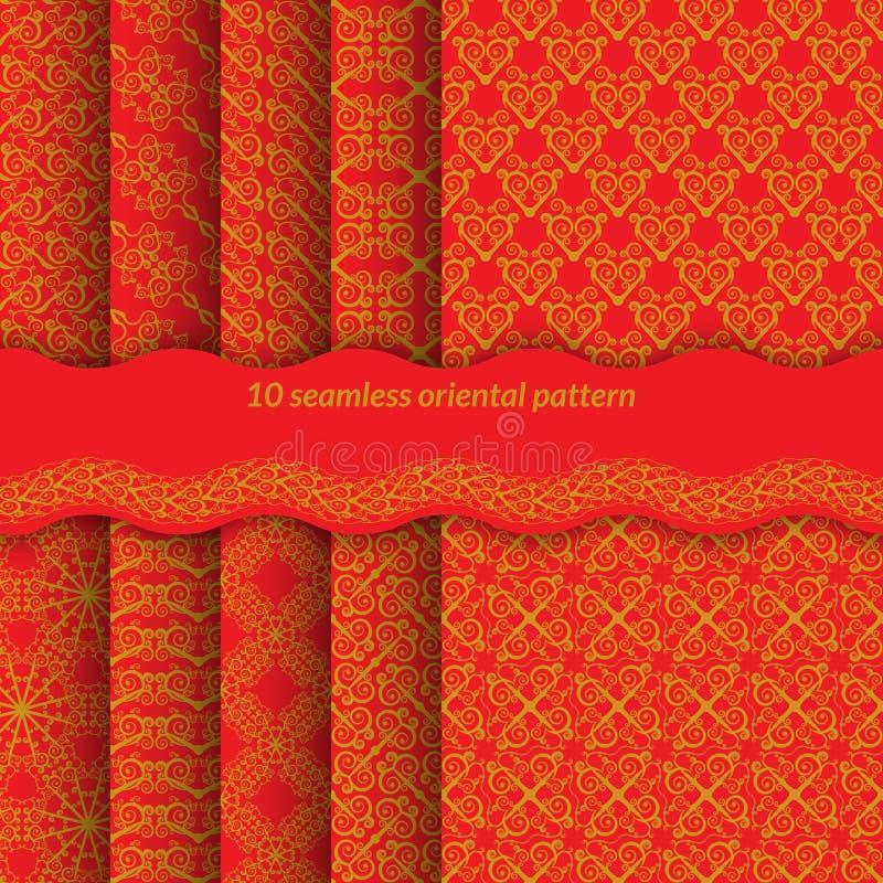 Uppsättning av den röda sömlösa modellen med spiral Ljus prydnad i östliga stilbakgrunder för webbsidor, tyger, gåvainpackning ut vektor illustrationer