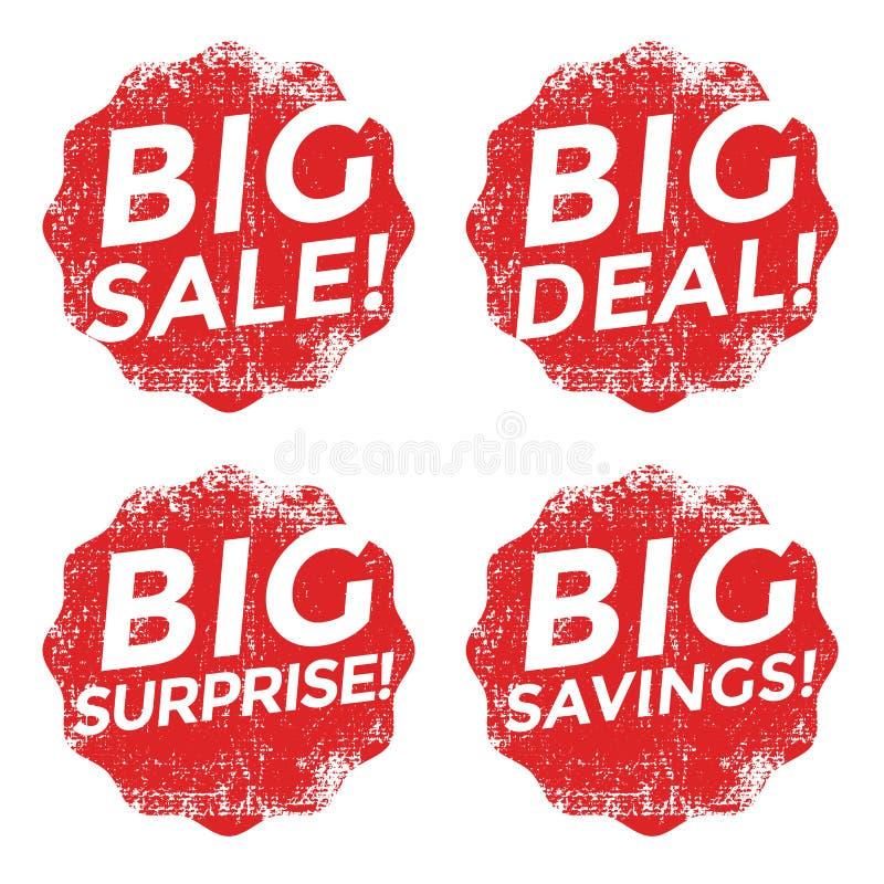 Uppsättning av den röda stora försäljningsgrungestämpeln stock illustrationer