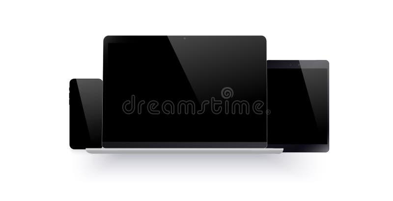 Uppsättning av den realistiska datorbildskärmen, bärbara datorn, minnestavlan och mobiltelefonen med den tomma svarta skärmen Oli stock illustrationer