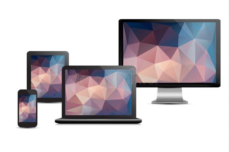 Uppsättning av den realistiska skärm, bärbara datorn, minnestavladatoren och mobilen stock illustrationer