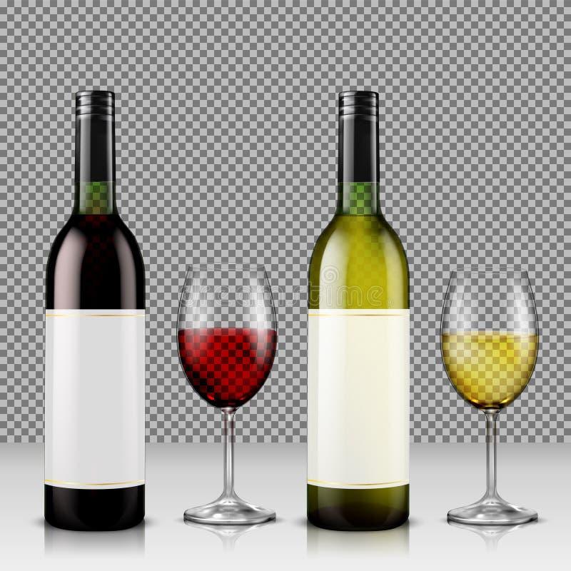 Uppsättning av den realistiska vektorillustrationen av glass vinflaskor och exponeringsglas med vit och rött vin vektor illustrationer