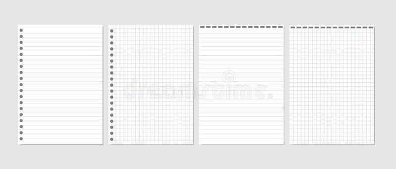 Uppsättning av den realistiska vektorillustrationen av tomma ark av fyrkantigt och fodrat papper från ett isolerat kvarter vektor illustrationer