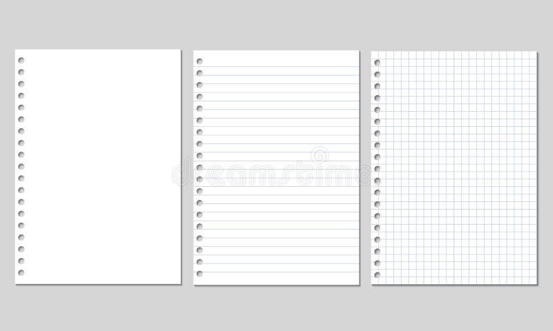 Uppsättning av den realistiska vektorillustrationen av tomma ark av fyrkantigt och fodrat papper från ett isolerat kvarter royaltyfri illustrationer