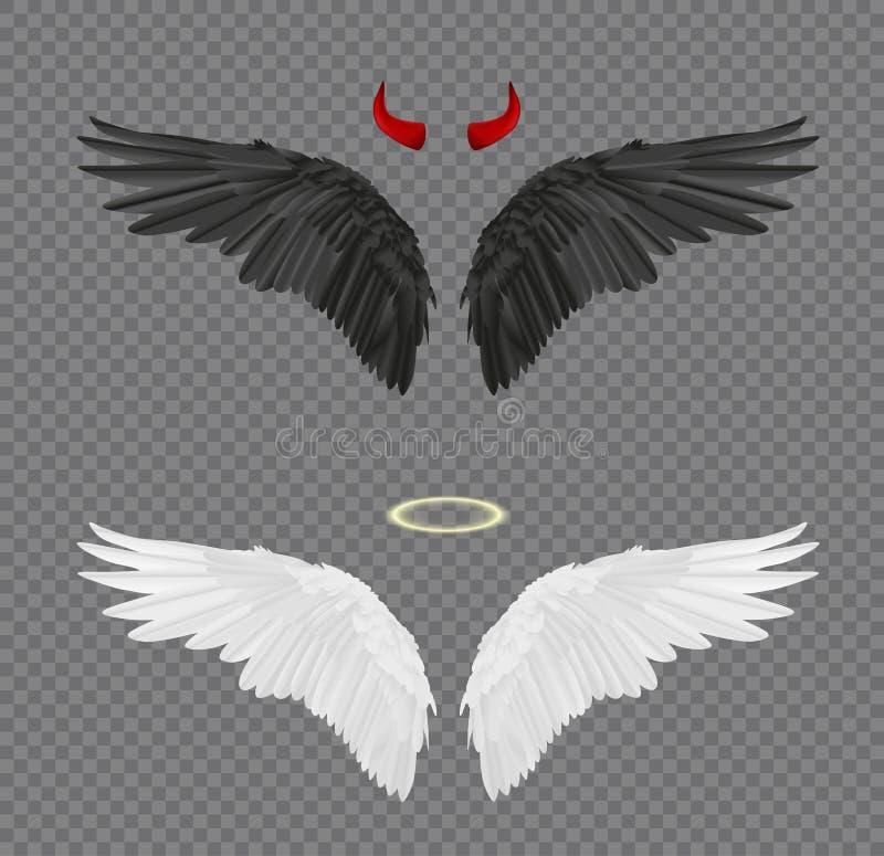 Uppsättning av den realistiska vingar för ängel och för jäkel, horn och glorien som isoleras royaltyfri illustrationer