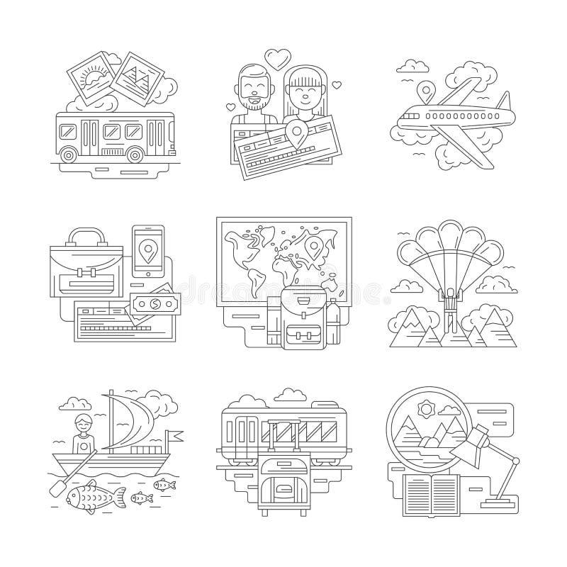 Uppsättning av den resor specificerade linjen symboler stock illustrationer