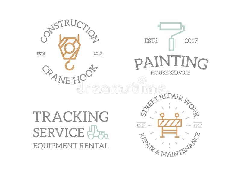 Uppsättning av den retro tappningkonstruktion, krankroken, målarfärgrullen, grävskopan, staketlogoen eller gradbeteckningen, embl royaltyfri illustrationer