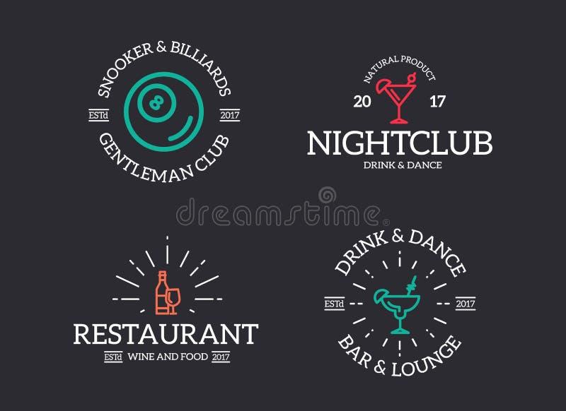 Uppsättning av den retro tappningnattklubben, billiard, coctail, diskologo eller gradbeteckning, emblem, etiketter och emblem och vektor illustrationer