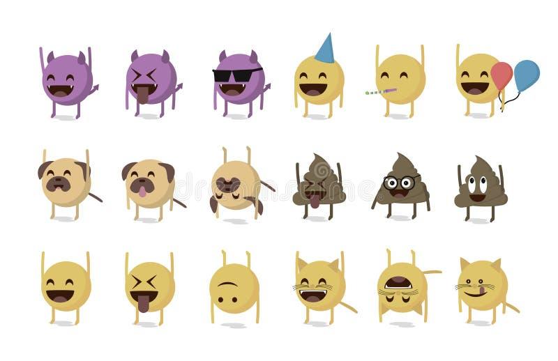 Uppsättning av den roliga emoticonen stock illustrationer