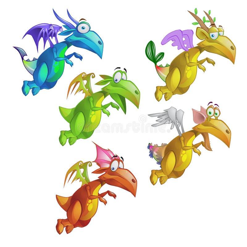 Uppsättning av den roliga livliga färgrika draken som isoleras på vit bakgrund Illustration för vektortecknad filmnärbild royaltyfri illustrationer