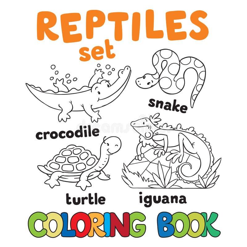 Uppsättning av den roliga reptiliesfärgläggningboken royaltyfri illustrationer