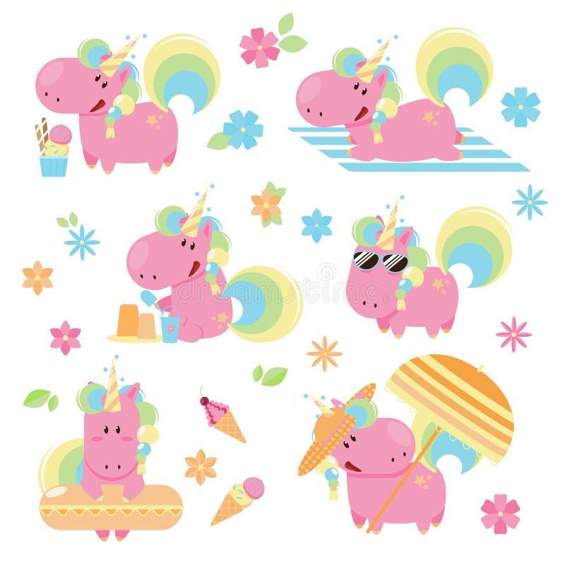 Uppsättning av den rosa enhörningen för gullig och rolig sommar på en strand vektor illustrationer