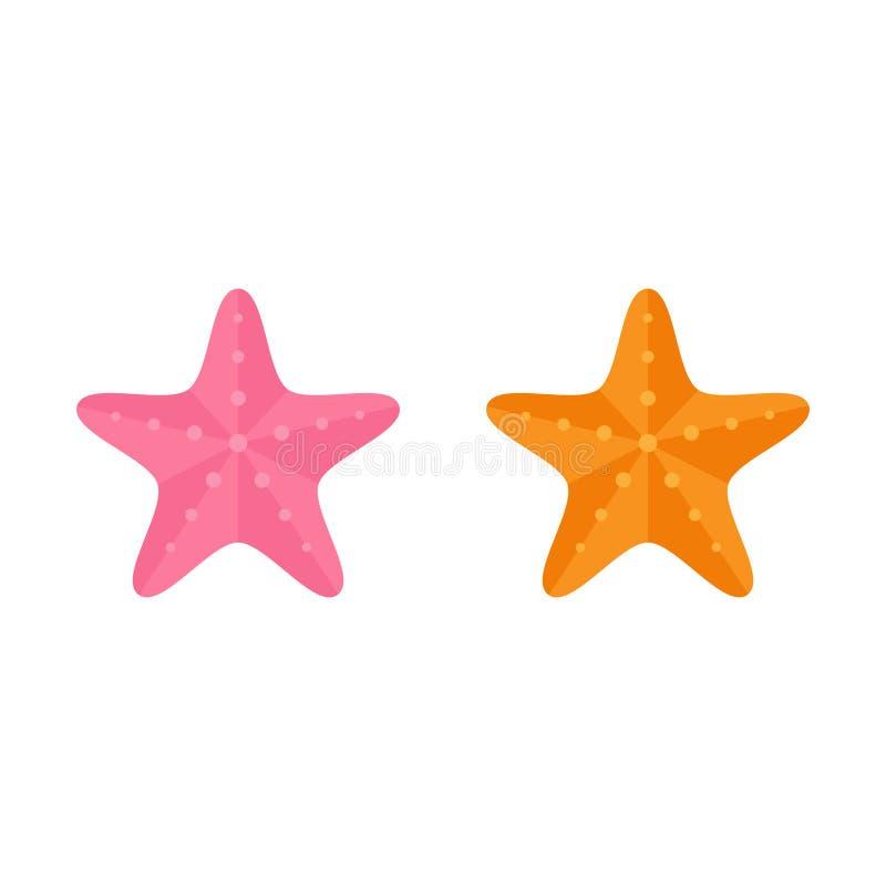 Uppsättning av den rosa och orange sjöstjärnan vektor illustrationer