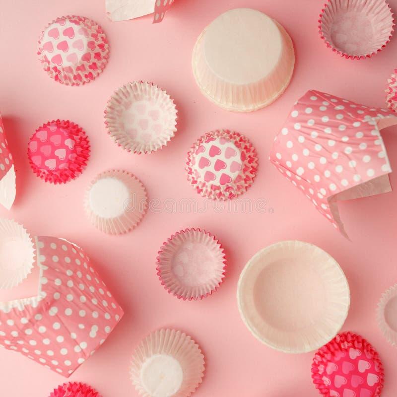 Uppsättning av den rosa pricken, eyeliner för hjärtapapperscupcaker, bageribakgrund, monokrom tappningpastellbakgrund, laga mat f fotografering för bildbyråer