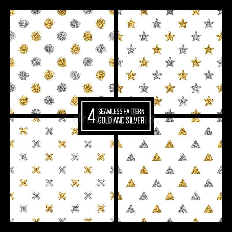 Uppsättning av den sömlösa guld- och silvern stjärnan för modell, cirkel, delta, plus vektor illustrationer