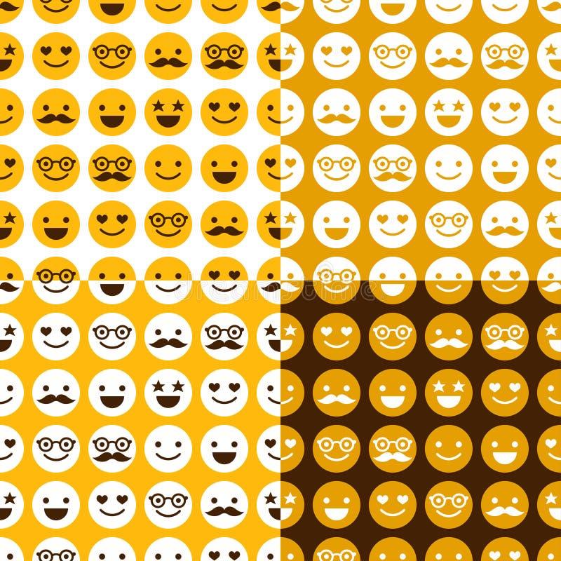 Uppsättning av den sömlösa modellen av gladlynta och lyckliga smileys stock illustrationer