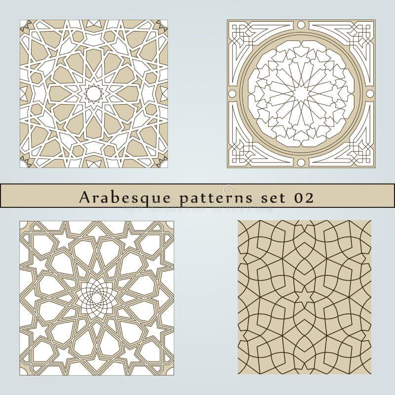 Uppsättning av den sömlösa modellen för fyra arabesque royaltyfri illustrationer