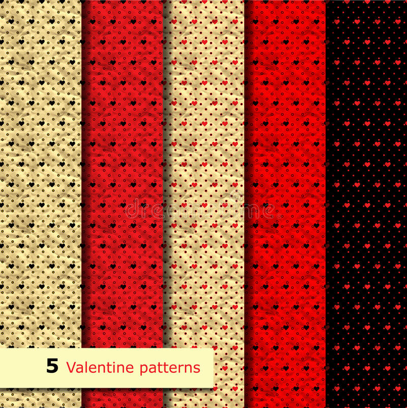Uppsättning av den sömlösa modellen för valentinvektor stock illustrationer