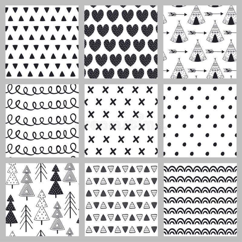Uppsättning av den sömlösa modellen som är svartvit i skandinavisk stil stock illustrationer