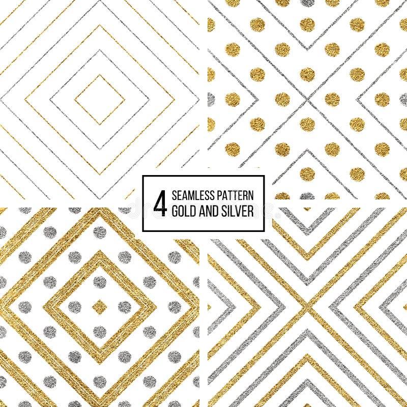 Uppsättning av den silverromben och cirkeln för geometrisk sömlös modell den guld- stock illustrationer