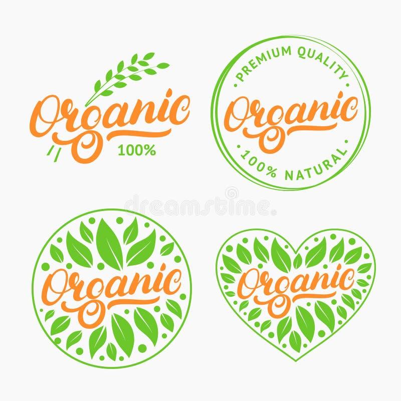 Uppsättning av den skriftliga bokstäverlogoen för organisk hand, etikett, emblem, emblem med nytt ljust - gräsplan stock illustrationer