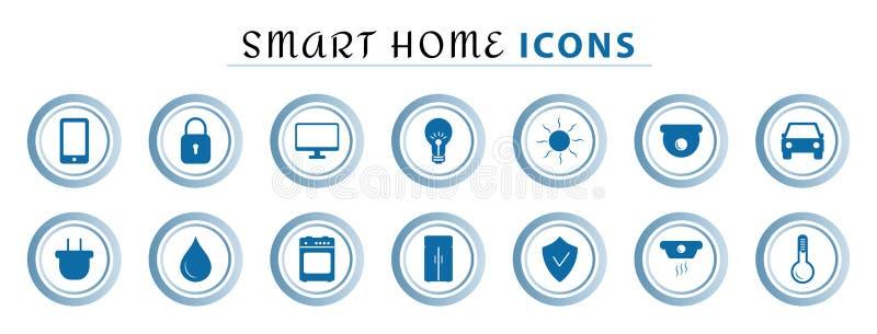 Uppsättning av den smarta hem- linjen symboler, den trådlösa temperaturen och ljus kontroll, luft som betingar, säkerhet stock illustrationer