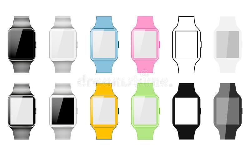 Uppsättning av den smarta klockan som göras i olika stilar: Realistisk, plan linjär symbol som är färgglad Vektorillustration av  stock illustrationer