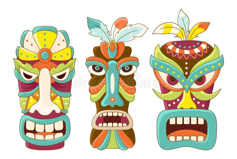 Uppsättning av den stam- maskeringen för tiki vektor illustrationer