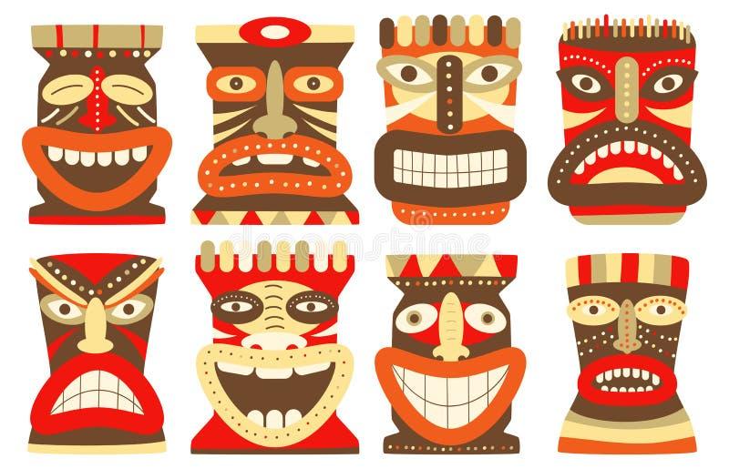 Uppsättning av den stam- maskeringen för tiki royaltyfri illustrationer