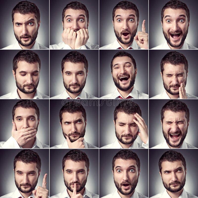 Uppsättning av den stiliga emotionella mannen royaltyfria bilder