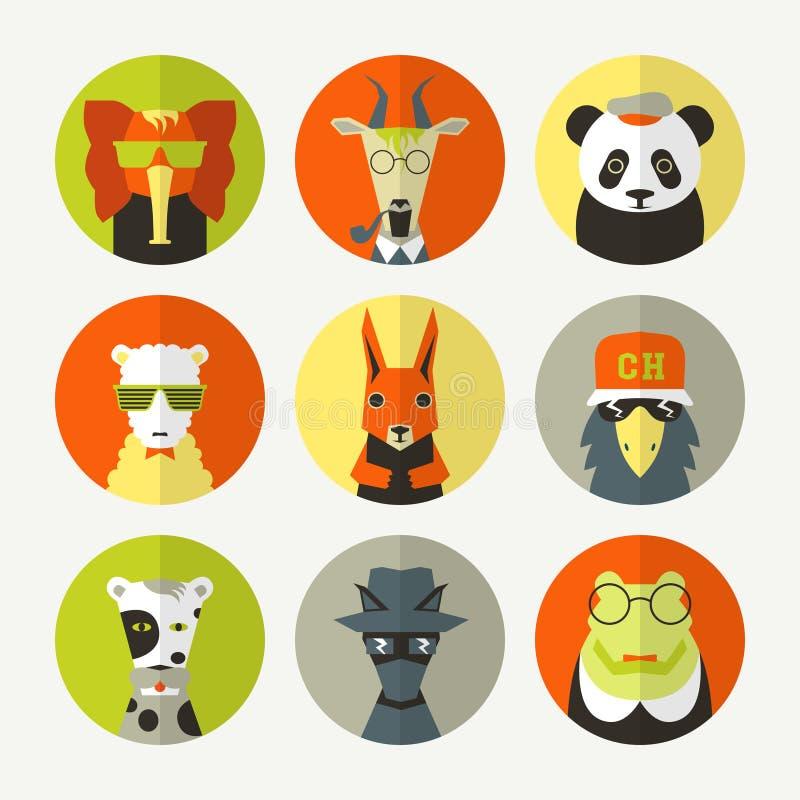 Uppsättning av den stiliserade djura avataren stock illustrationer