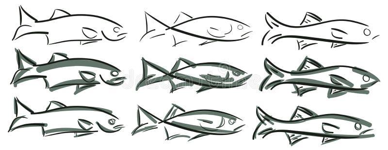 Uppsättning av den stiliserade fisken royaltyfri illustrationer